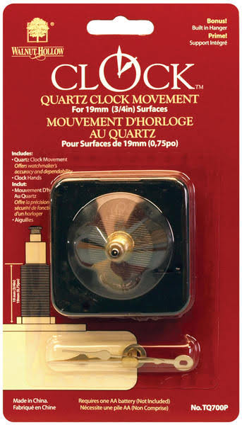 Walnut Hollow Clock Movement with Hands for 3/4in Surfaces