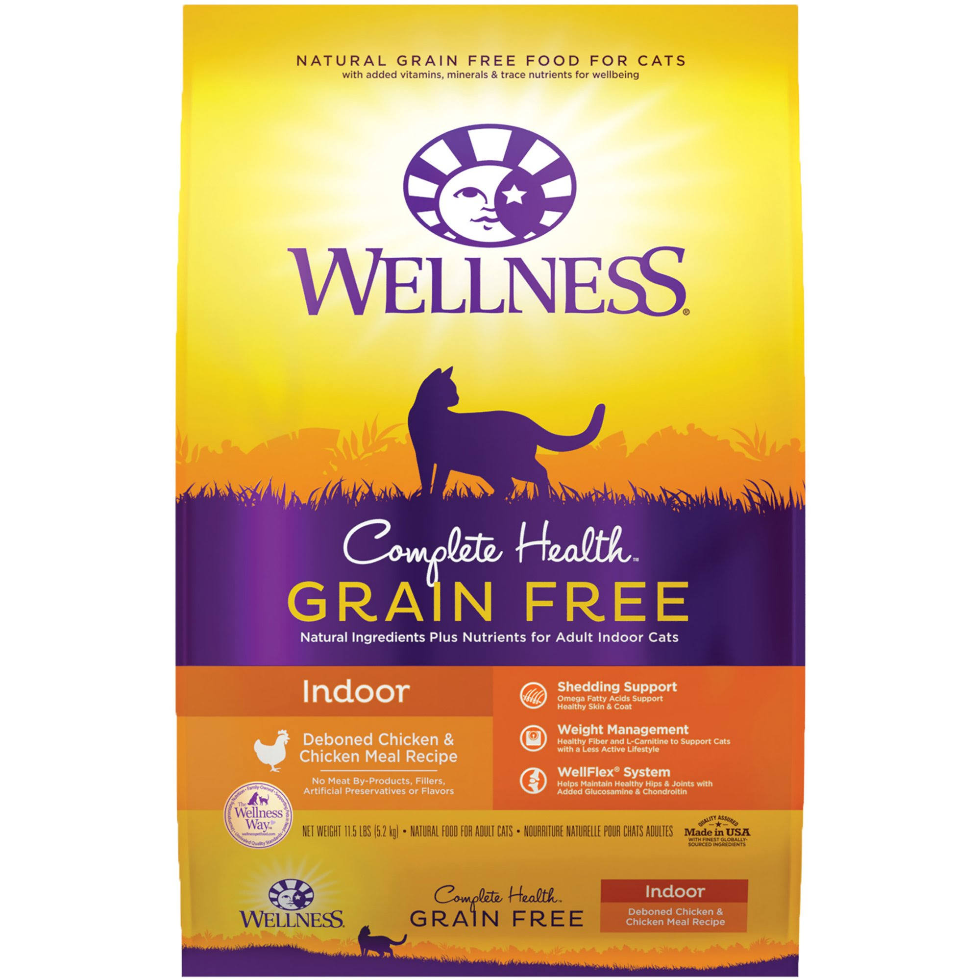 Wellness Complete Health Grain Free Natural Dry Cat Food - Indoor Chicken, 11.5-lbs