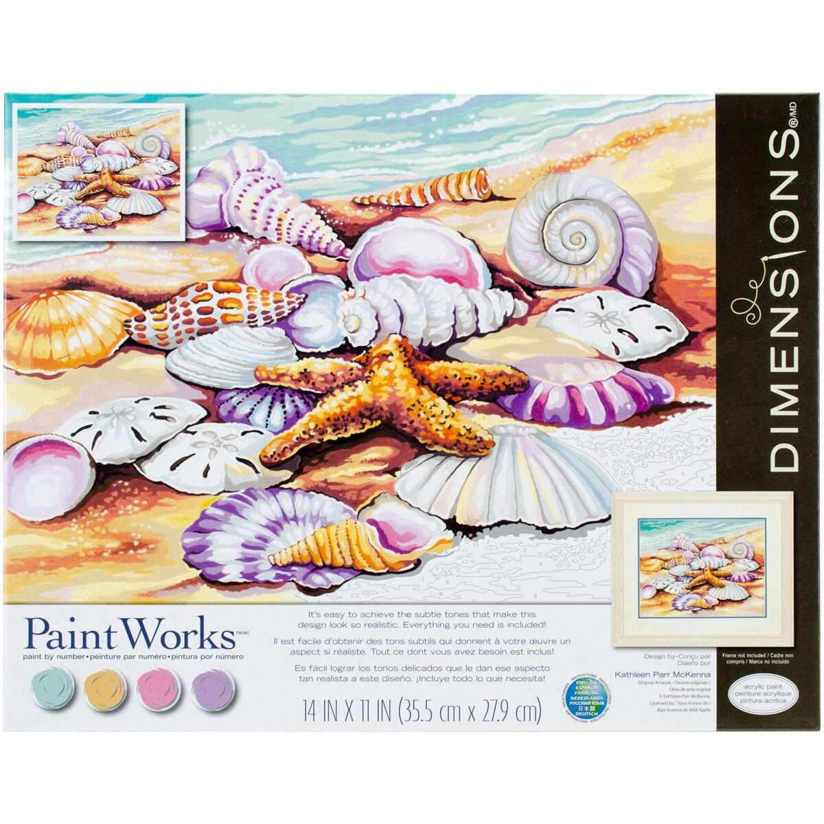 "Dimensions Paint Works 7391526 Paint By Number Kit - Shells, 14"" x 11"""