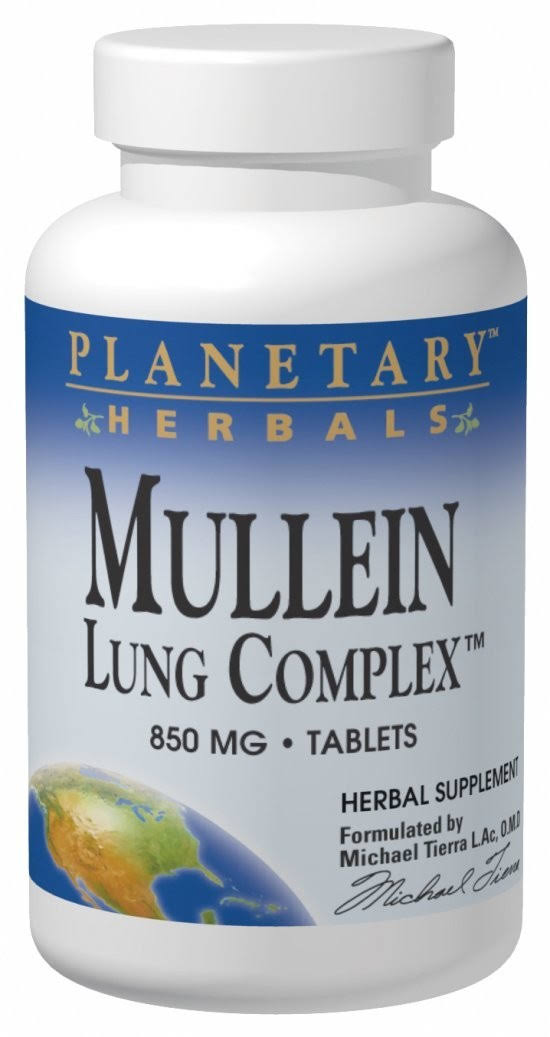 Planetary Herbals Mullein Lung Complex Herbal Supplement - 90 Tablets