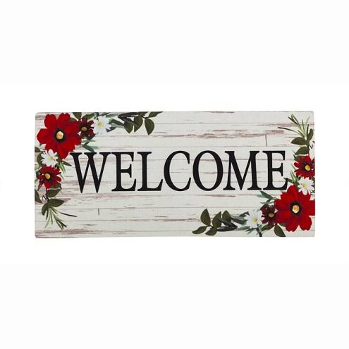 Evergreen Red Floral Welcome Sassafras Switch Mat