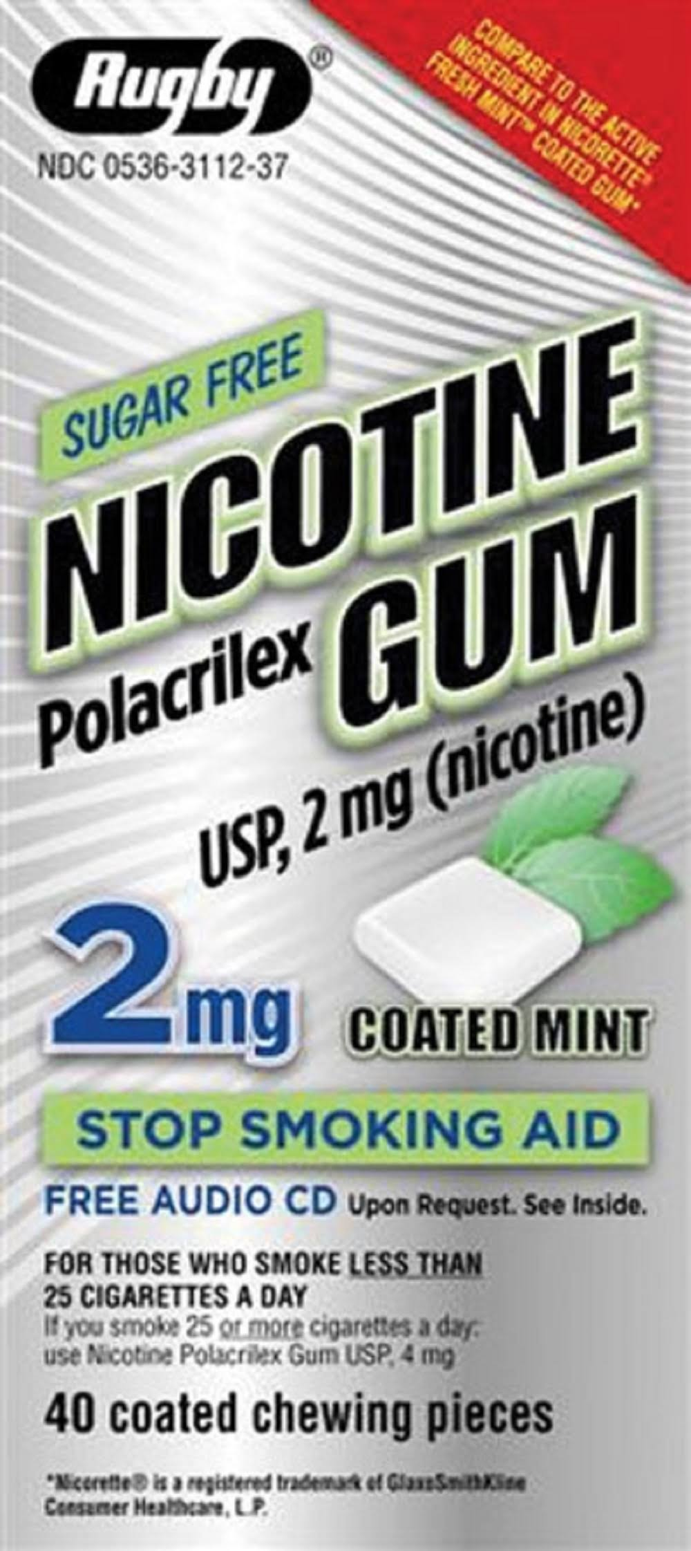 Rugby Sugar-Free Nicotine Gum 2mg Coated Mint - 40 Chewing Pieces
