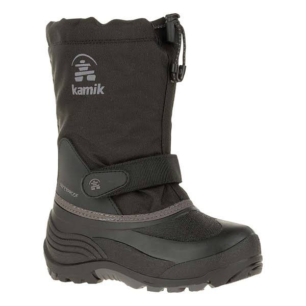Kamik Kids' Waterbug5 Insulated Waterproof Winter Boots - Black/Charcoal, 3 US Little Kid