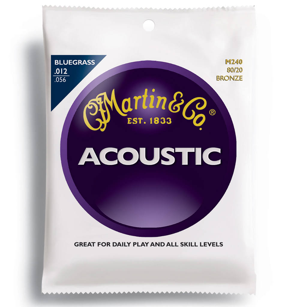 Martin M240 Bluegrass Acoustic Guitar Strings - Light to Medium, 80 20 Bronze