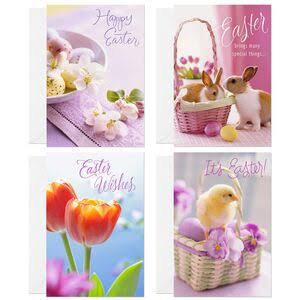 Bunnies, Flowers, Chicks Easter Cards, Pack of 8
