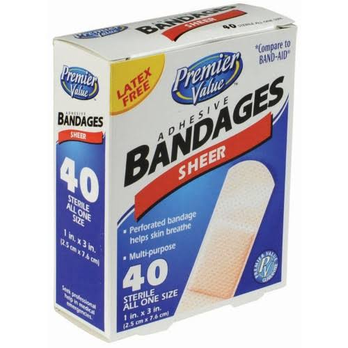Premier Value Sheer Plastic Bandage 1 inchx3 inch - 40ct