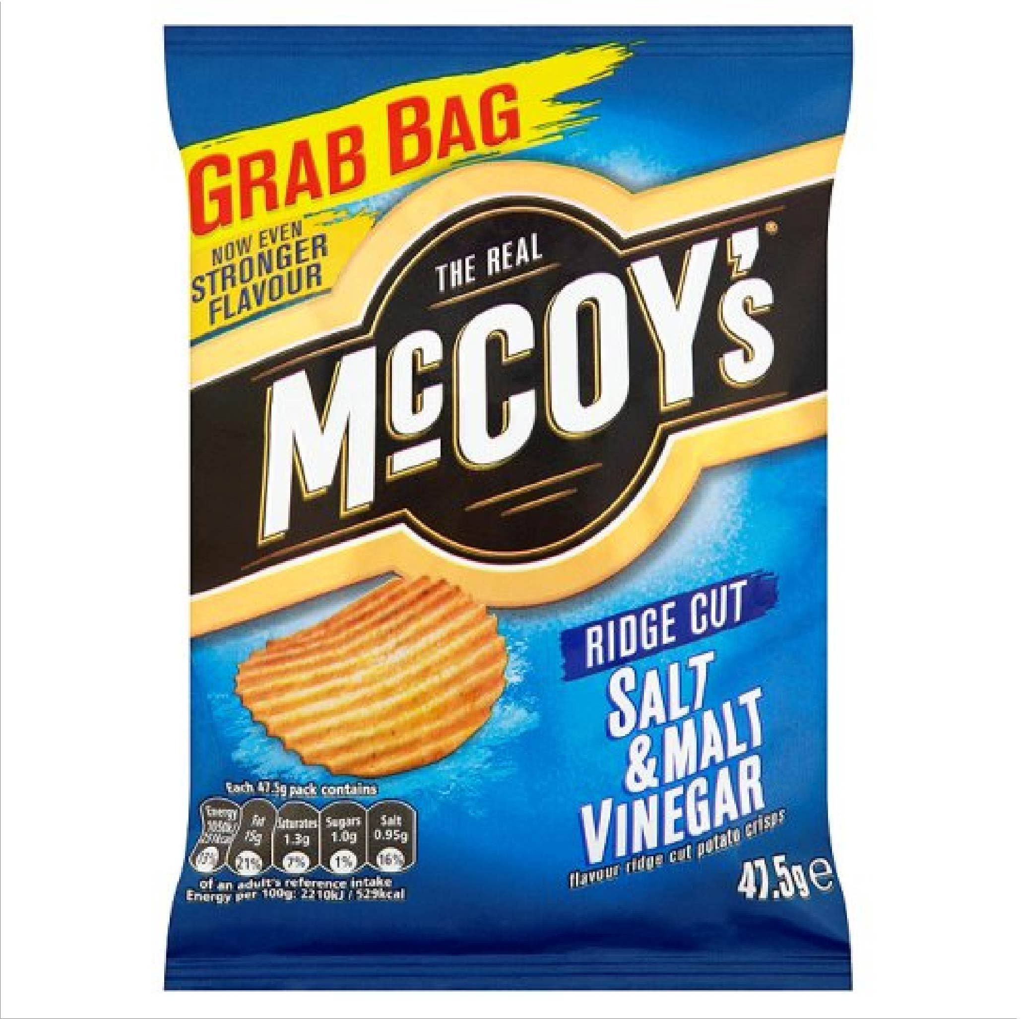 The Real McCoy's Ridge Cut Potato Crisps - Salt and Malt Vinegar Flavour, 47.5g