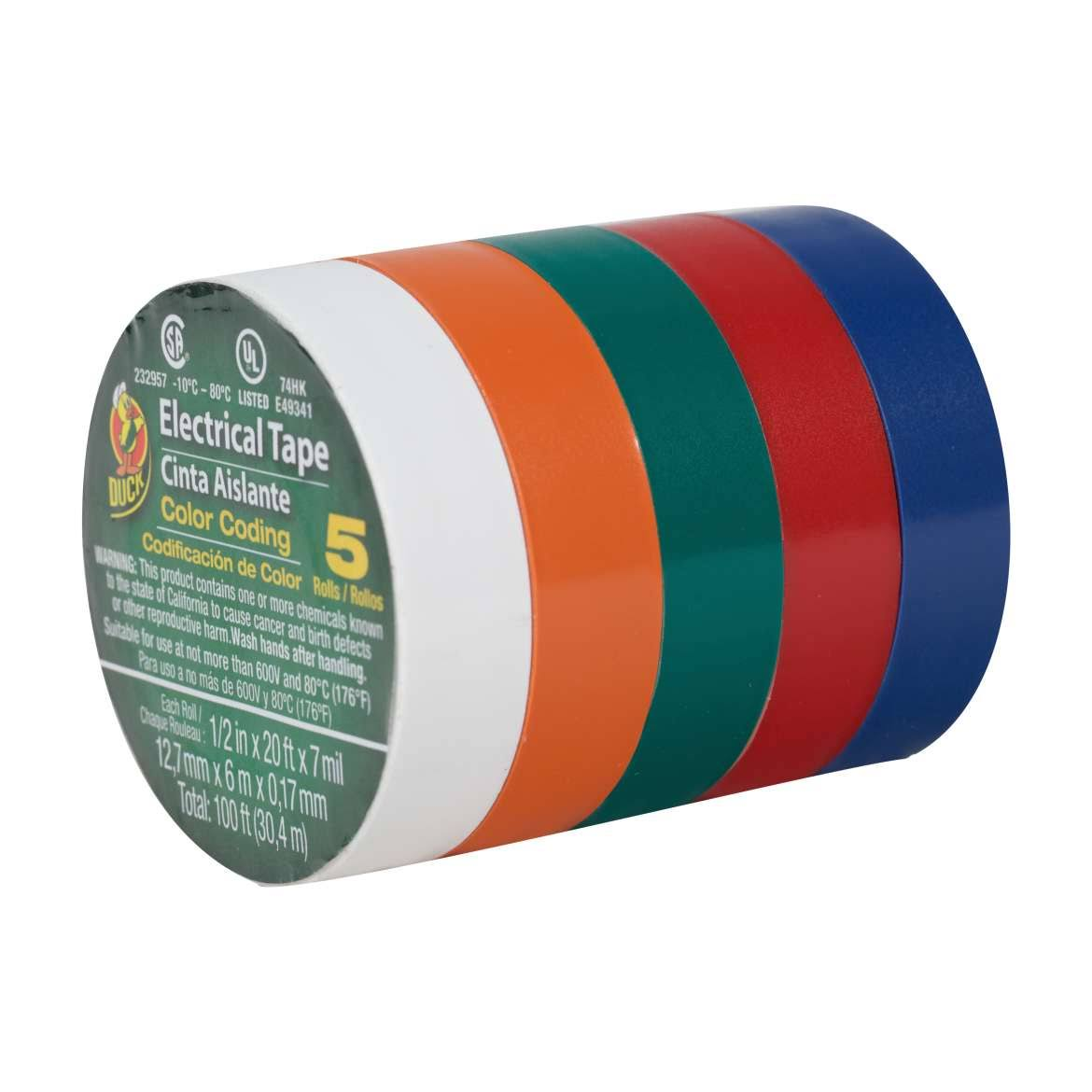 Duck Brand 299020 Colored Electrical Tape - 5 Pack