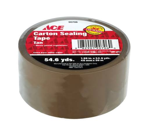 "Ace Carton Sealing Tape - 1.88"" x 54.6yds, Clear"