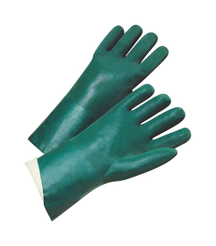 West Chester 14014 Pvc Fully Coated Jersey Lined Gauntlet Cuff Gloves - Green, Large