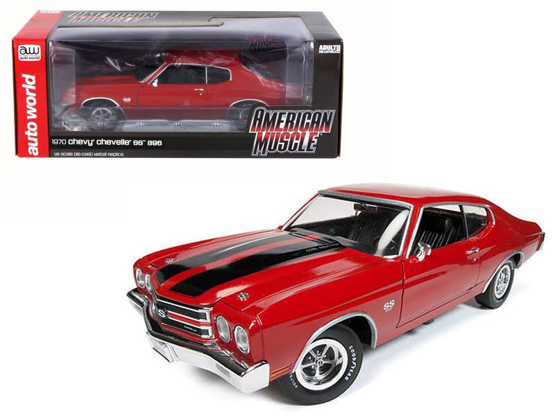 1970 Chevrolet Chevelle SS 396 Cranberry Red with Black Stripes Limited Edition to 1002pcs 1/18 Diecast Model Car by Autoworld