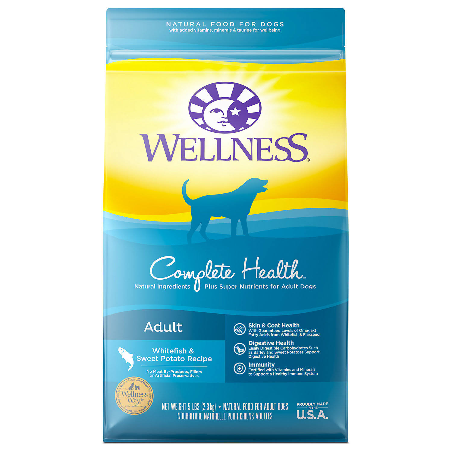 Wellness Complete Health Natural Dry Dog Food - Whitefish and Sweet Potato, 5lb