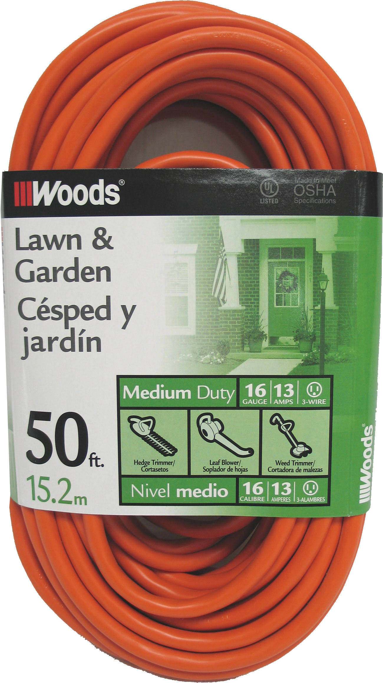 Woods Outdoor Cord - Orange, 50ft