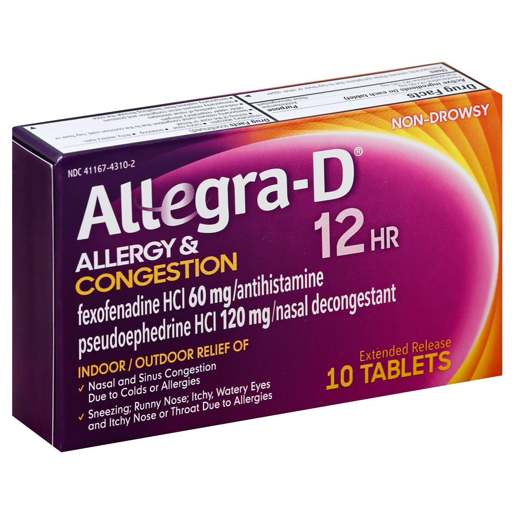 Allegra D Allergy & Congestion, 12 HR, Extended Release Tablets - 10 tablets