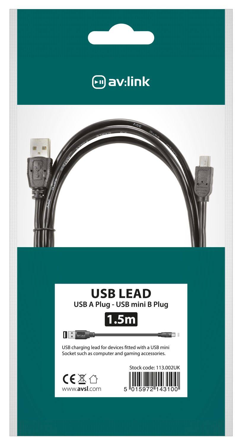 USB 2.0 Type A Plug to Mini Type B Plug 5Pin Leads - 1.5m