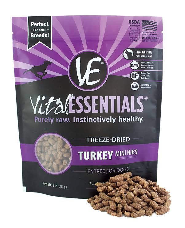 Vital Essentials Mini Nibs Dog Food - Turkey, 453g