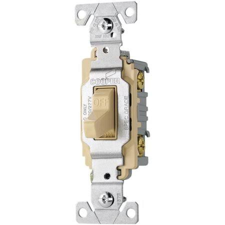 Cooper Wiring Devices Toggle Light Switch - 20A, Ivory