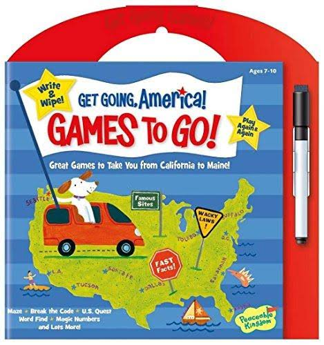 Peaceable Kingdom Get Going, America Write and Wipe Games To Go