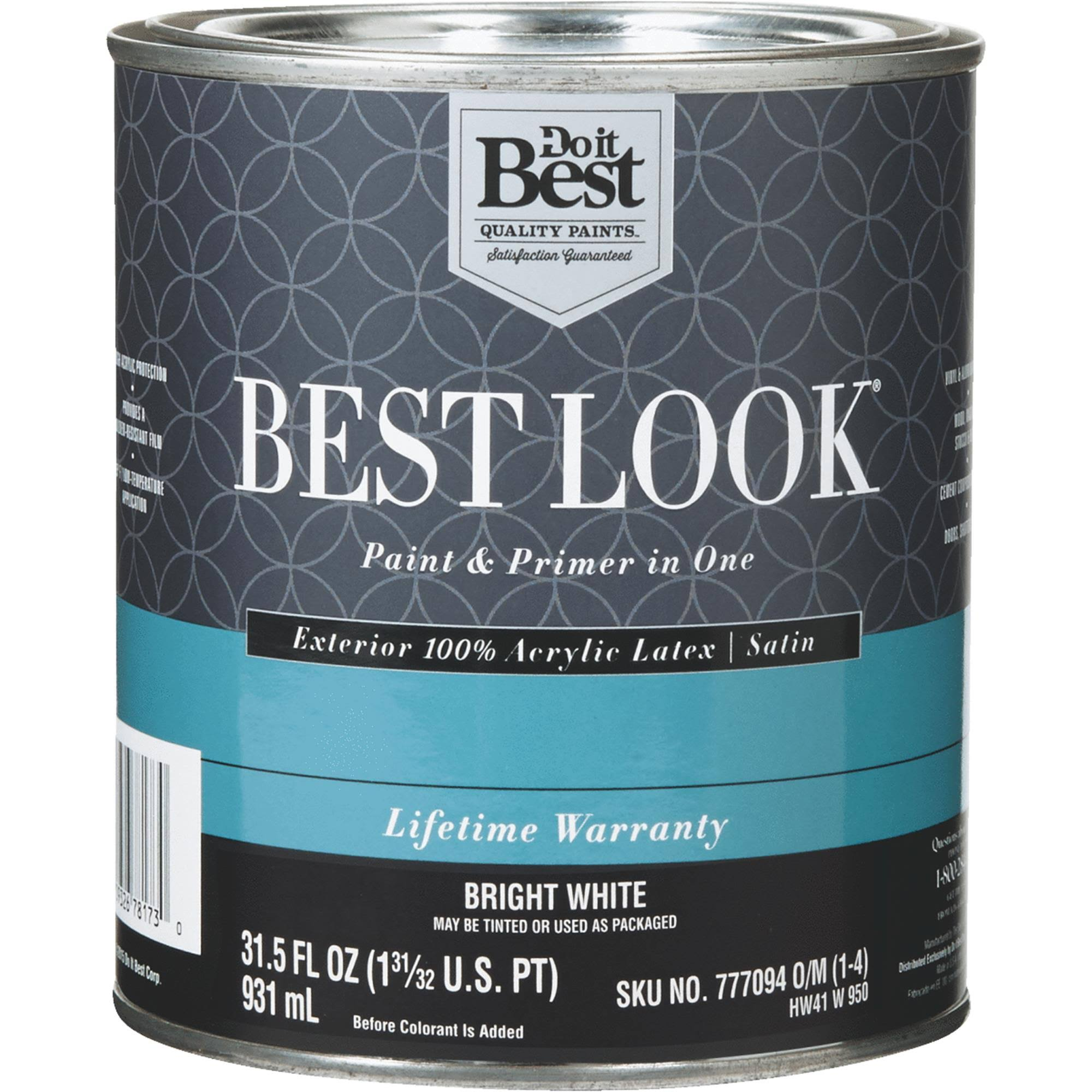 - HW41W0950-14 Best Look 100% Acrylic Latex Paint & Primer in One Satin Exterior House Paint