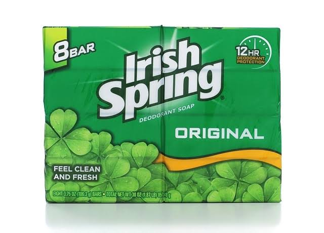 Irish Spring Original Deodorant Soap Bar - 3.75oz, 8 Pack