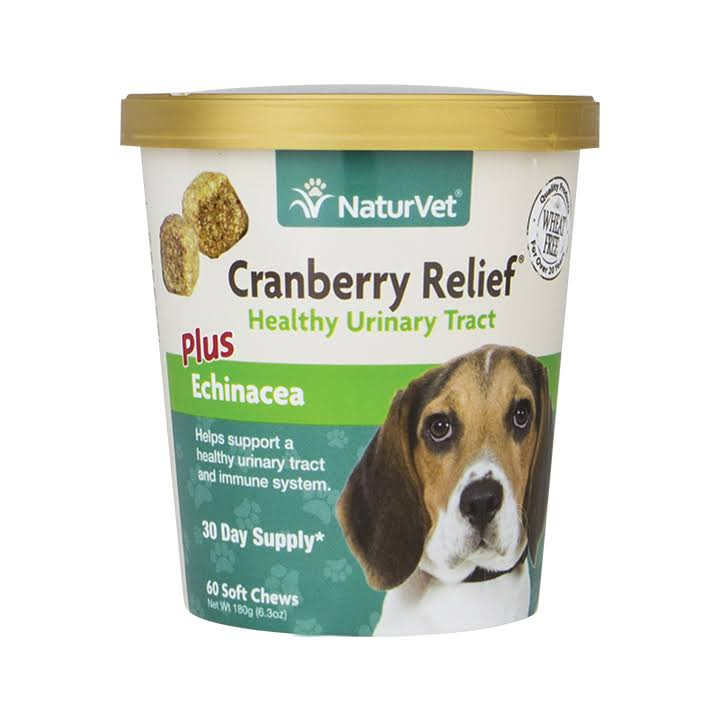 NaturVet Cranberry Relief Plus Echinacea for Dogs - 60 Soft Chews