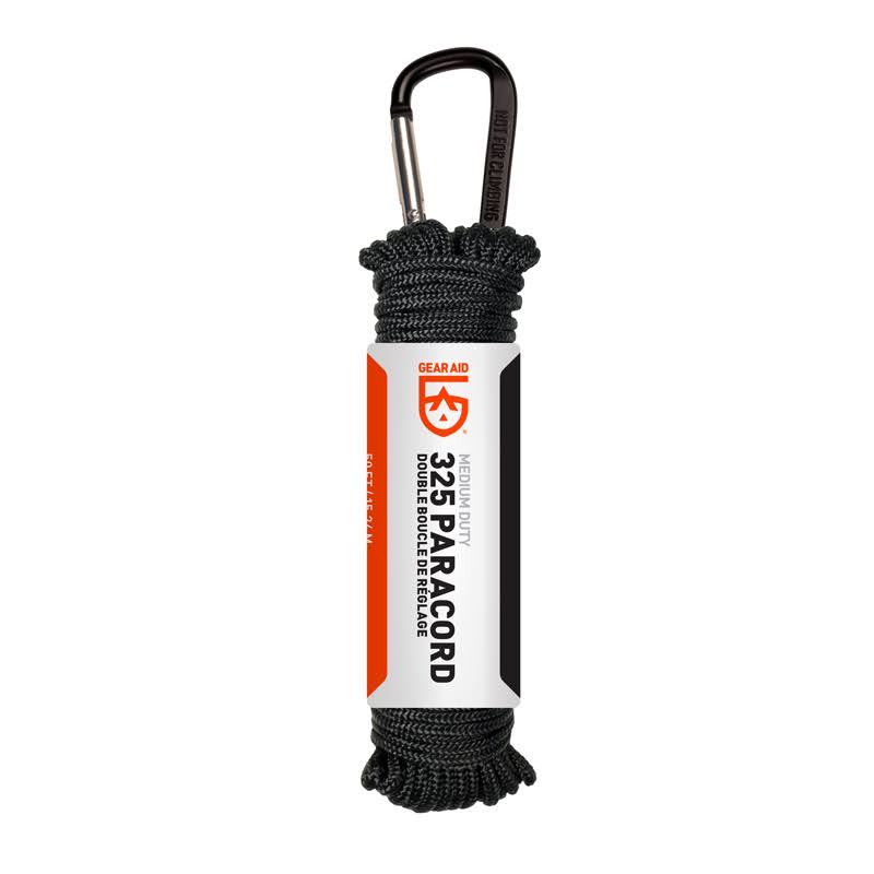 Gear Aid 325 Paracord For Camping Backpacking or Hunting Multi Purpose Utility Line - Black, 50'