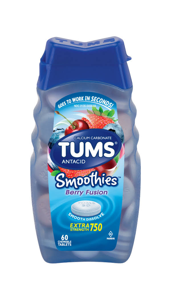 Tums Smoothies Calcium Carbonate Antacid Chewable Tablets - 60 Pack, Berry Fusion