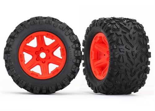 "Traxxas 8672A 3.8"" Wheels with Talon EXT Tires, Orange"