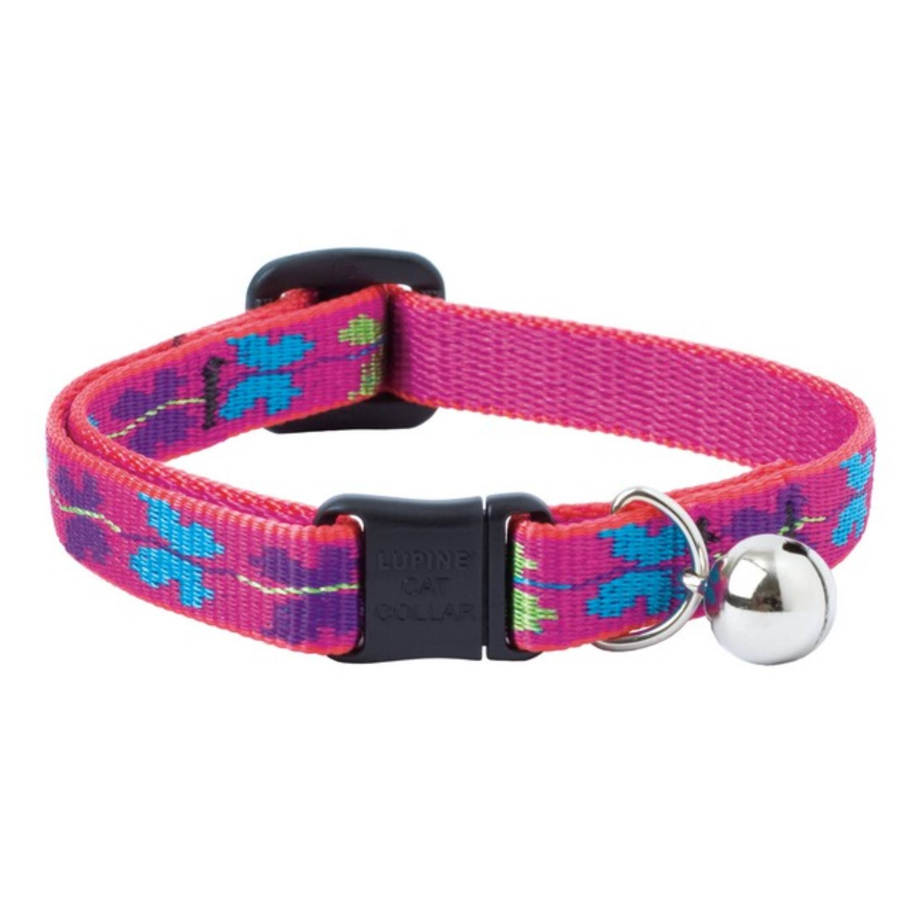 "Lupine Classic Designer Collection Adjustable Cat Safety Collar - 8-12"", Wing It, With Bell"