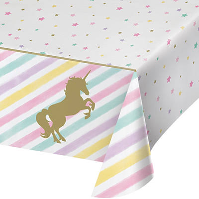 "Creative ConvertingUnicorn Birthday Party Sparkle Tablecover - 54"" x 102"""