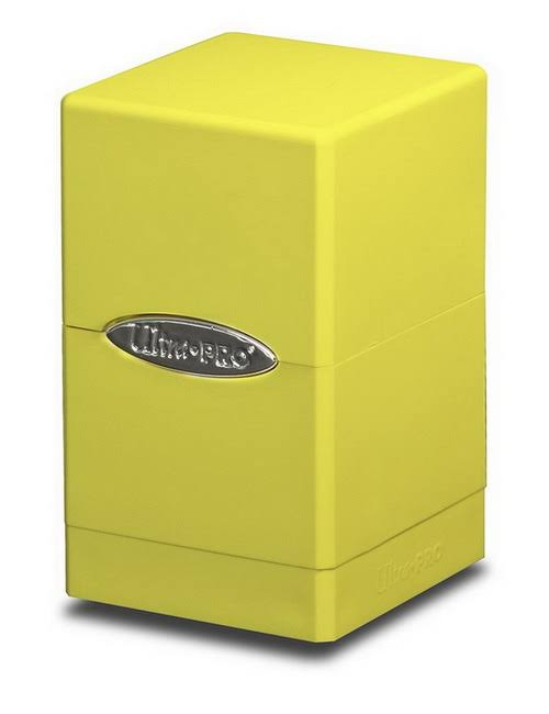 Ultra Pro Satin Tower Deck Box - Holds 100 Sleeved Cards, Bright Yellow