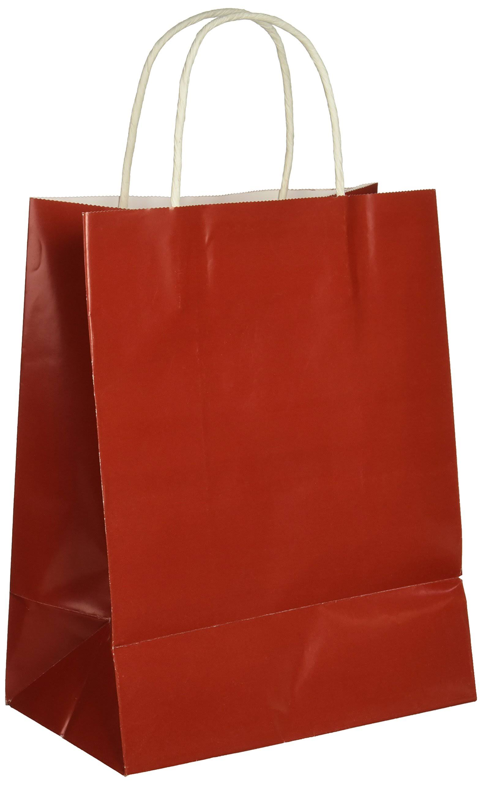 Darice 2607-40 1Piece, Paper Bag with Handles-Red