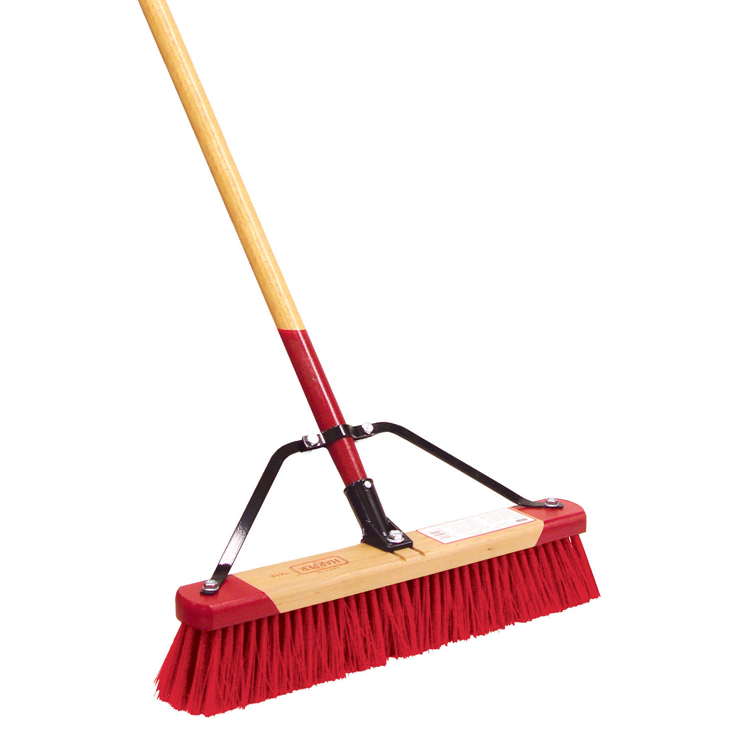 Harper 7318A Professional Red-End Assembled Push Broom - Medium Stiff Synthetic