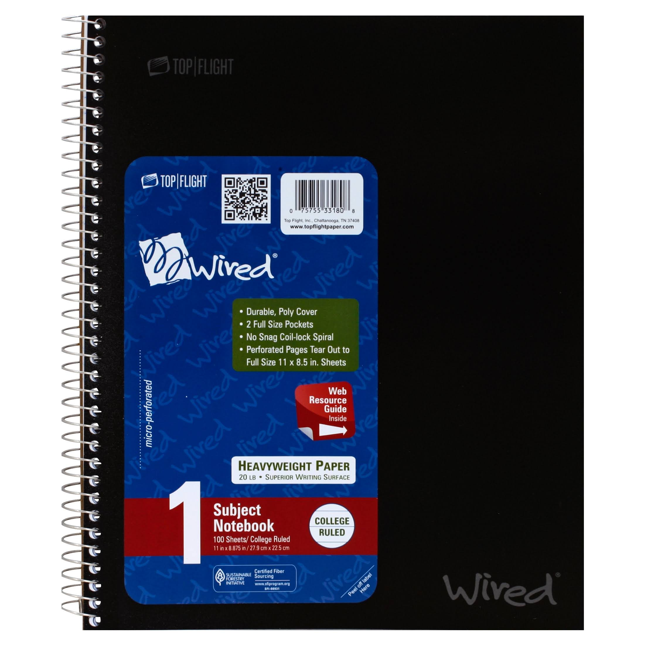 Top Flight Wired Notebook, 1 Subject, College Ruled, 100 Sheets