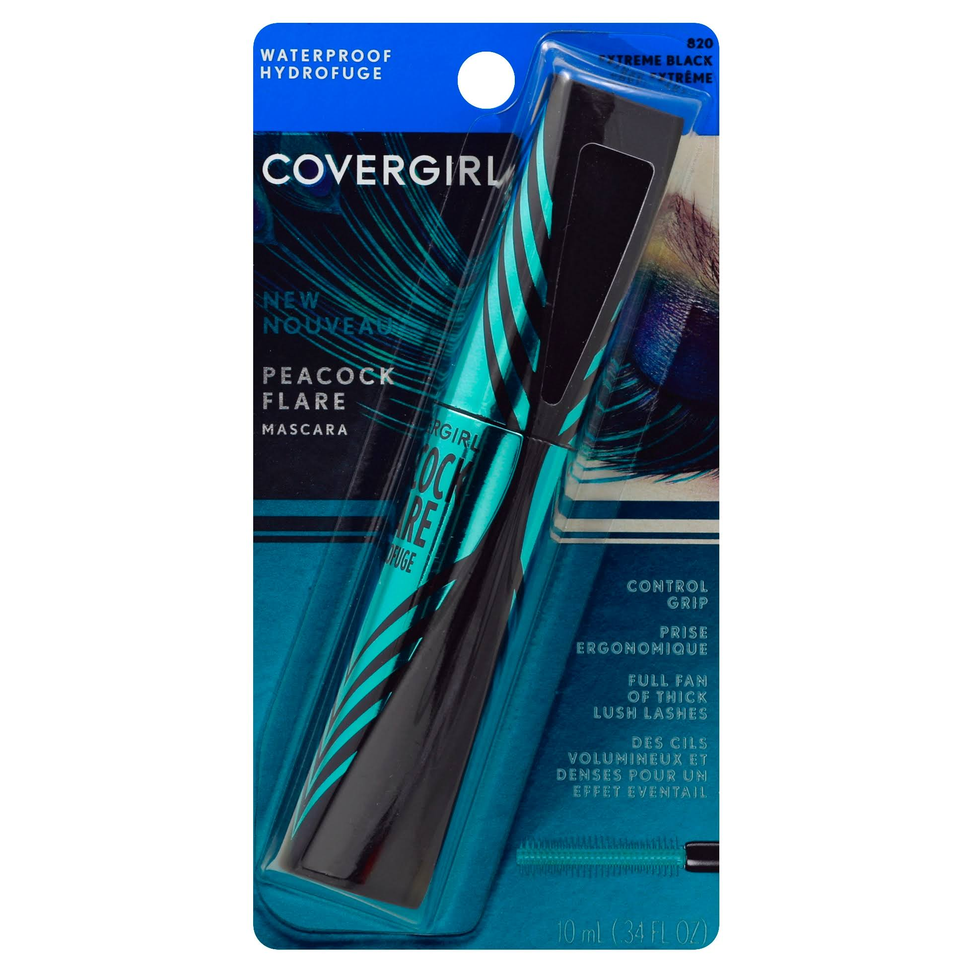 COVERGIRL Peacock Flare Waterproof Mascara - 820 Extreme Black, 9ml