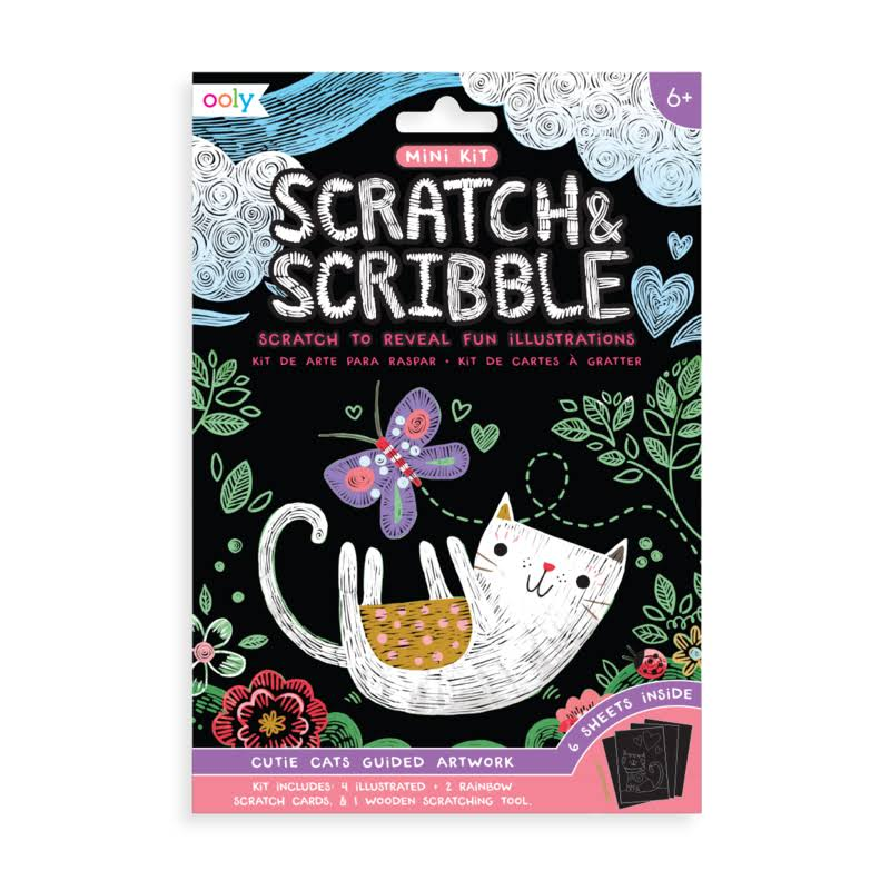 Ooly Cutie Cats Mini Scratch & Scribble Art Kit One-Size
