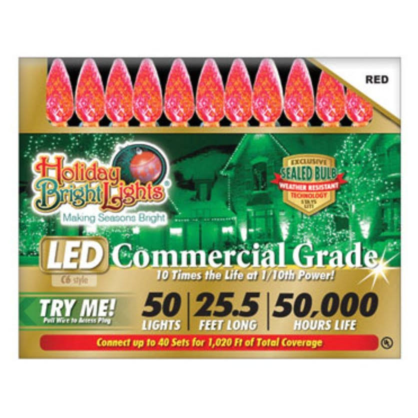 Holiday Bright Lights C6 Commercial Grade Led Light Set - Red