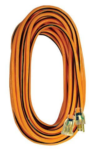 Voltec 05-00343 SJTW Outdoor Extension Cord - 14/3 Gauge, with Lighted End, 100', Orange with Black Stripe