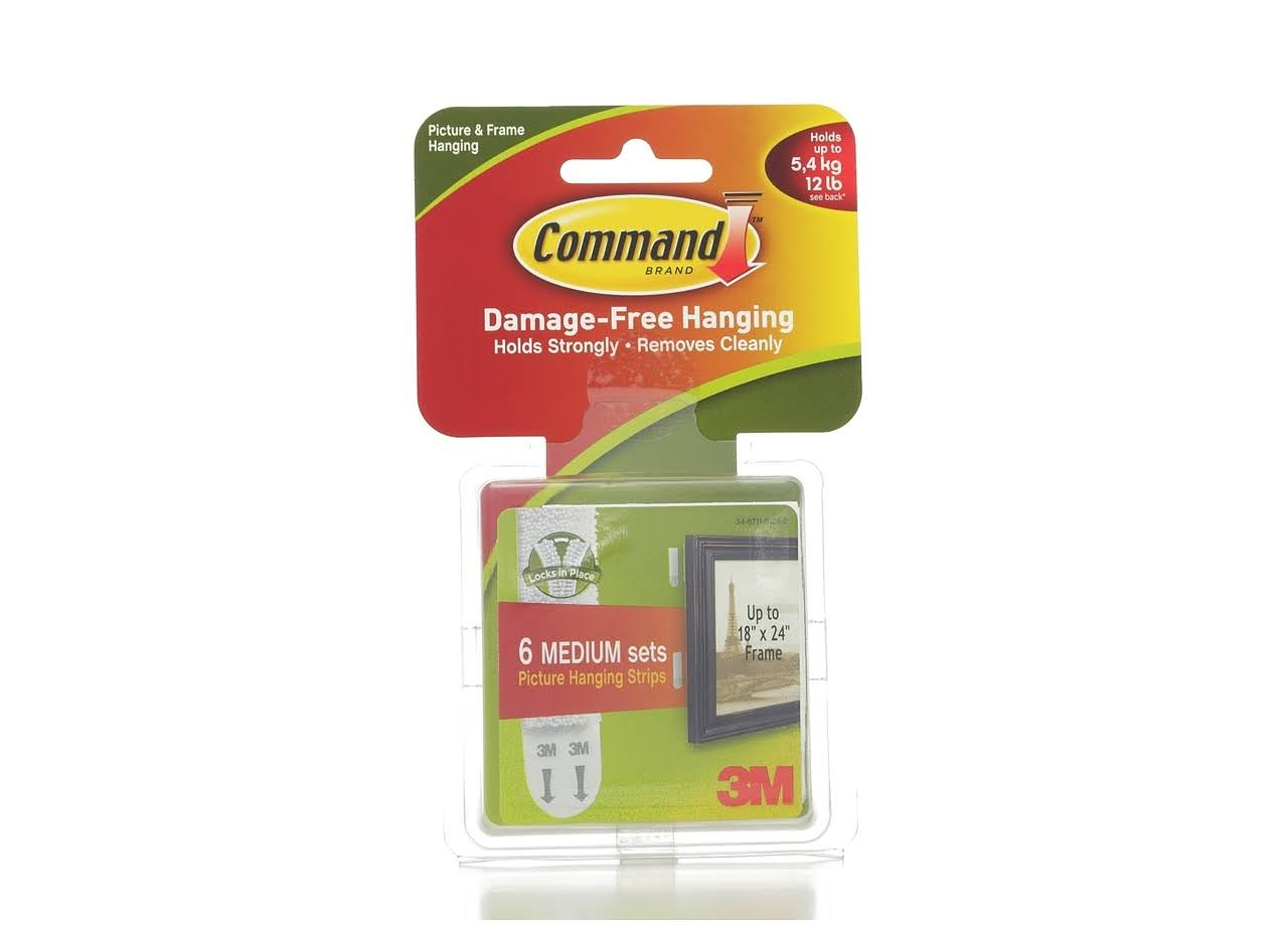 3M Command Brand Medium Picture Hanging Strips - 6ct