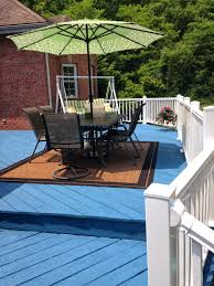 Rust Oleum Decorative Concrete Coating Sunset by Blue Deck And White Composite Railing Deck Pained With Rustoleum