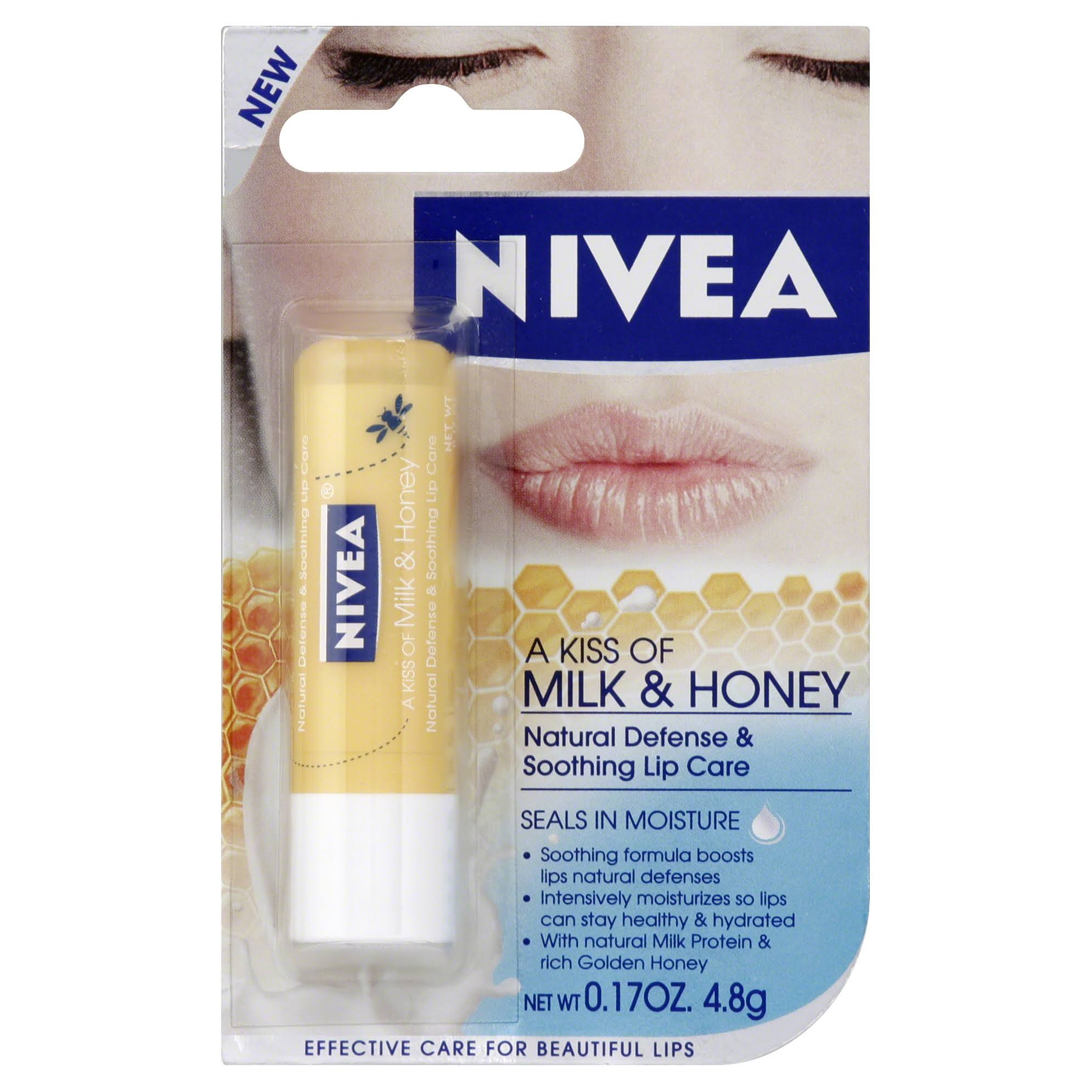 Nivea A Kiss of Soothing Lip Care - Milk & Honey, 4.8g