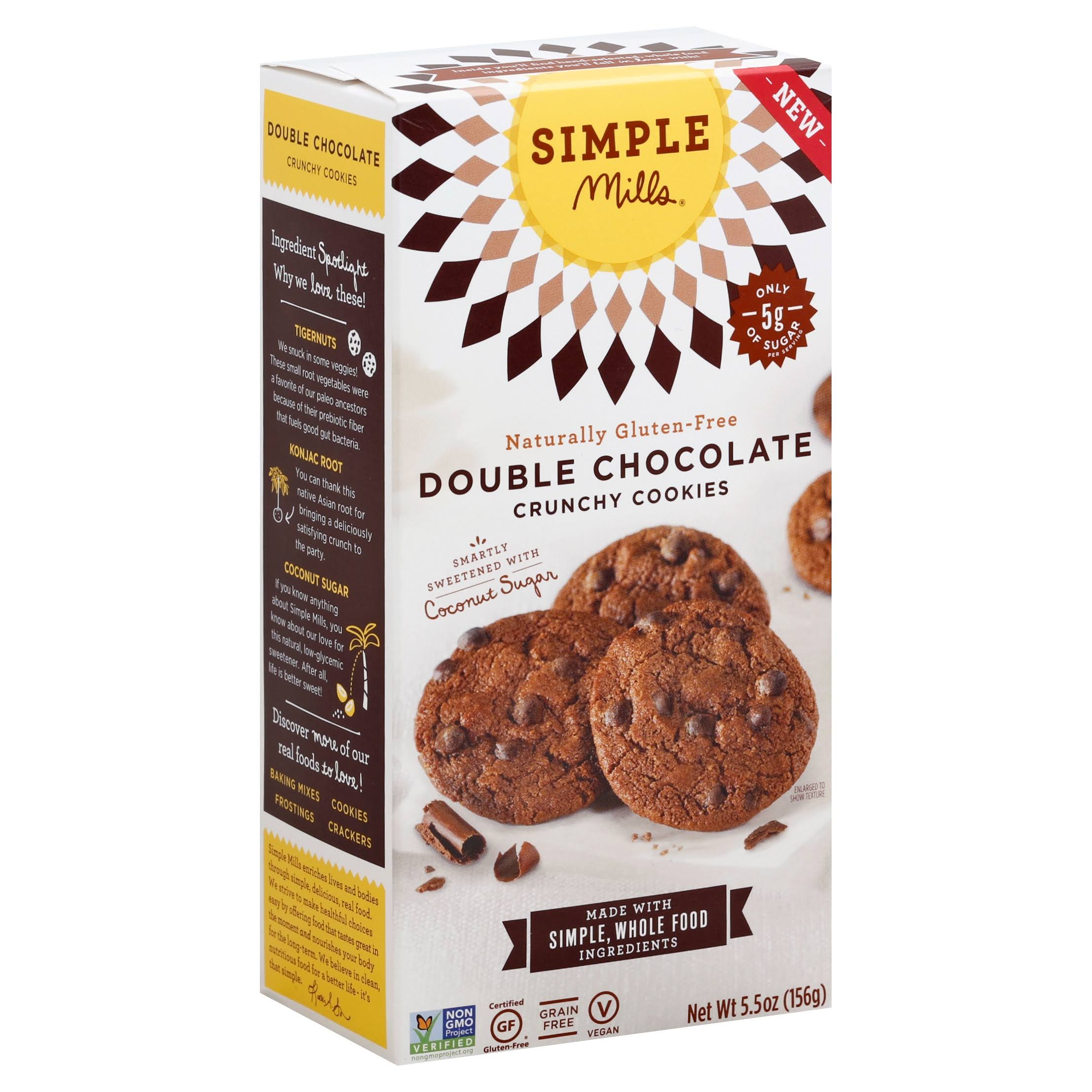 Simple Mills Naturally Gluten Crunchy Cookies - Double Chocolate, 5.5oz
