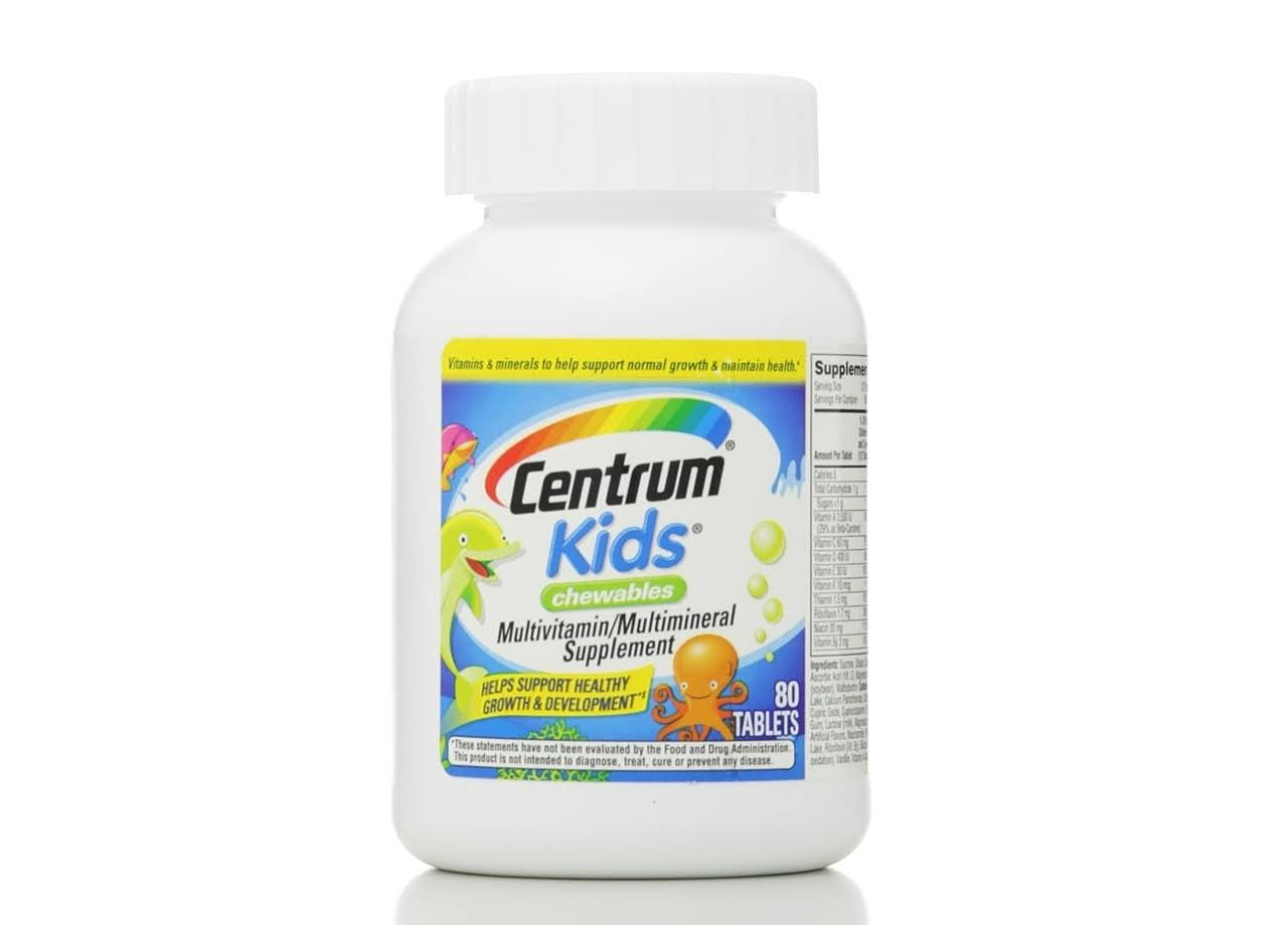 Centrum Kids Chewable Multivitamin And Multimineral Supplement - 80 Tablets