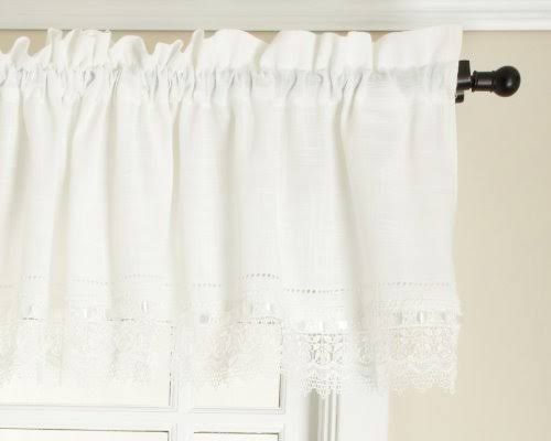 Stylemaster Renaissance Home Fashion Sophia Valance with Macrame Band, Ivory, 58-Inch by 14-Inch