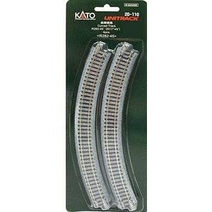 Kato USA Model Train Products Unitrack Radius 45-Degree Curve Track - 4pc, 282mm
