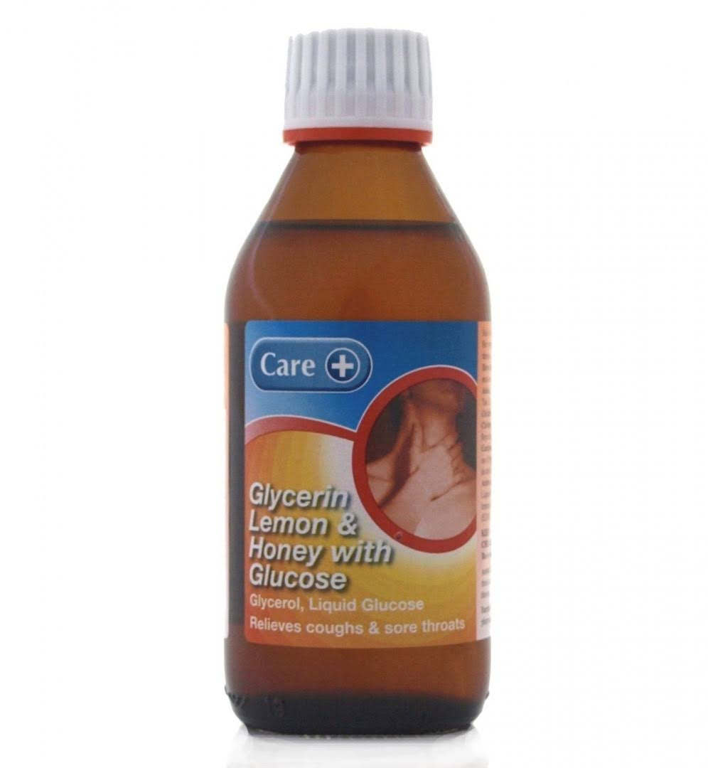 Care Glycerin Relieves Coughs and Sore Throats - Lemon and Honey with Glucose, 200ml
