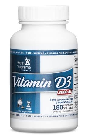 Nutri-Supreme Research Vitamin D3 2000 IU - 180 Vegetarian Softgels