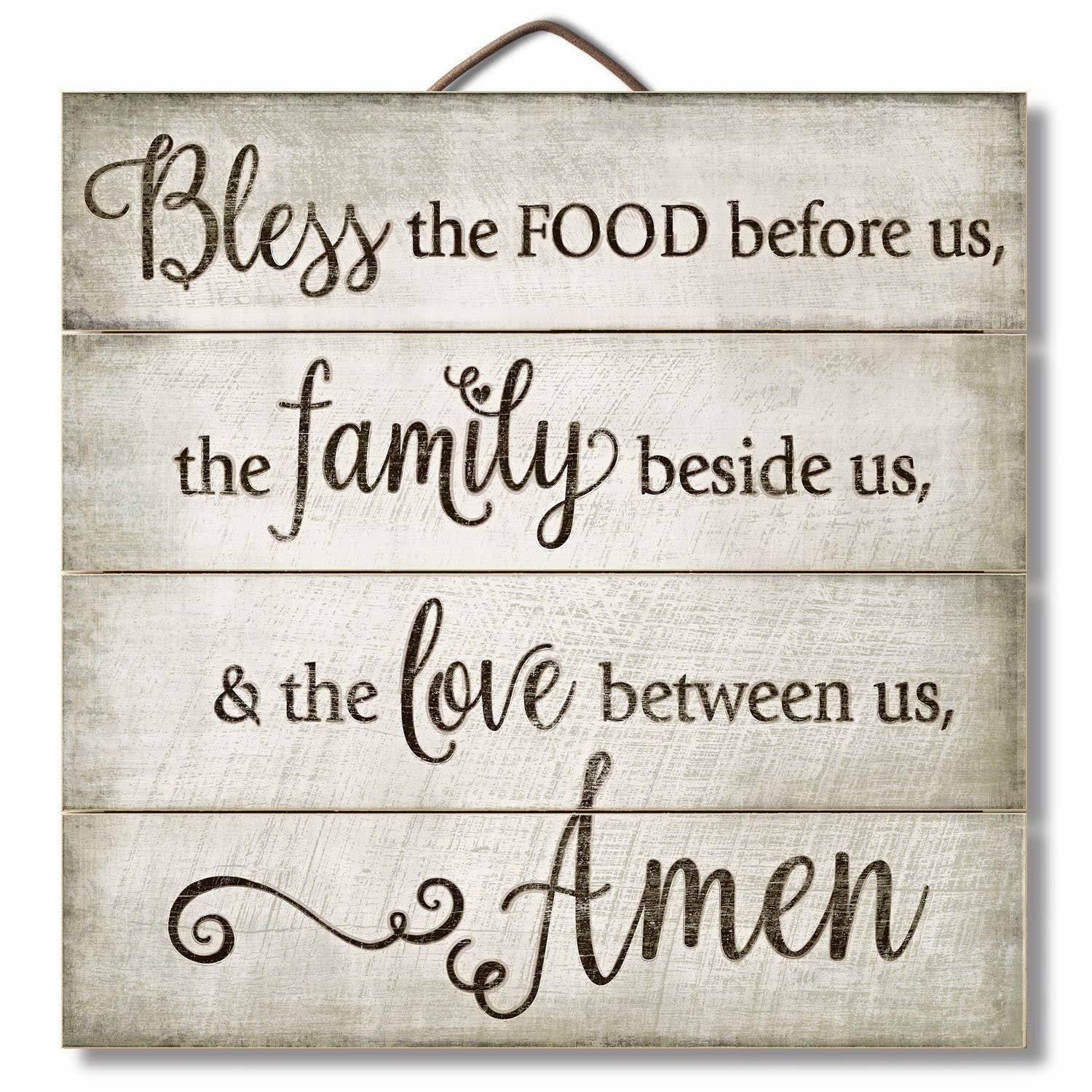 "Highland Graphics 12"" Inspirational Sign Bless The Food Before Us... Family Wall Decor"