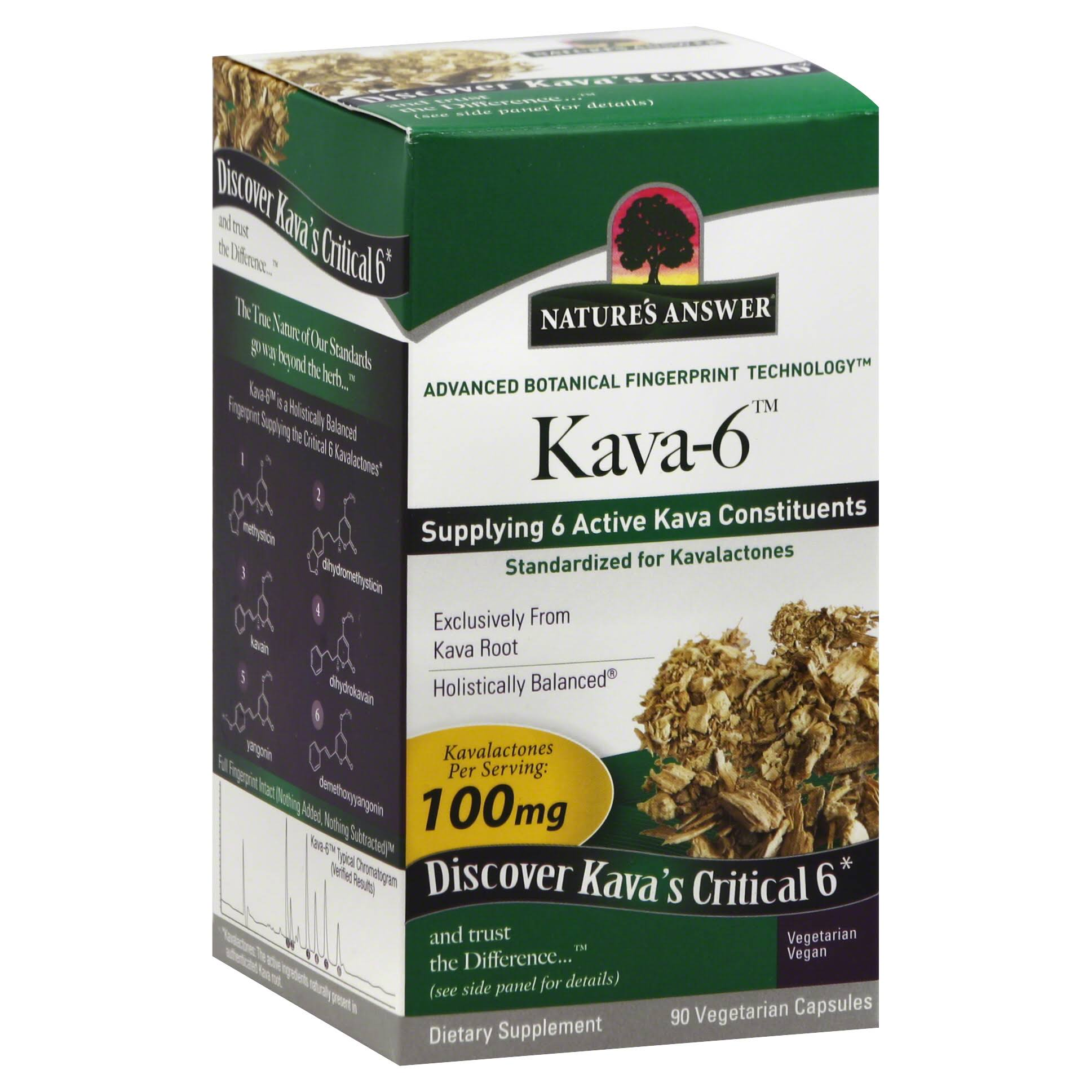 Nature's Answer Kava 6 Supplement - 90 Vegetarian Capsules