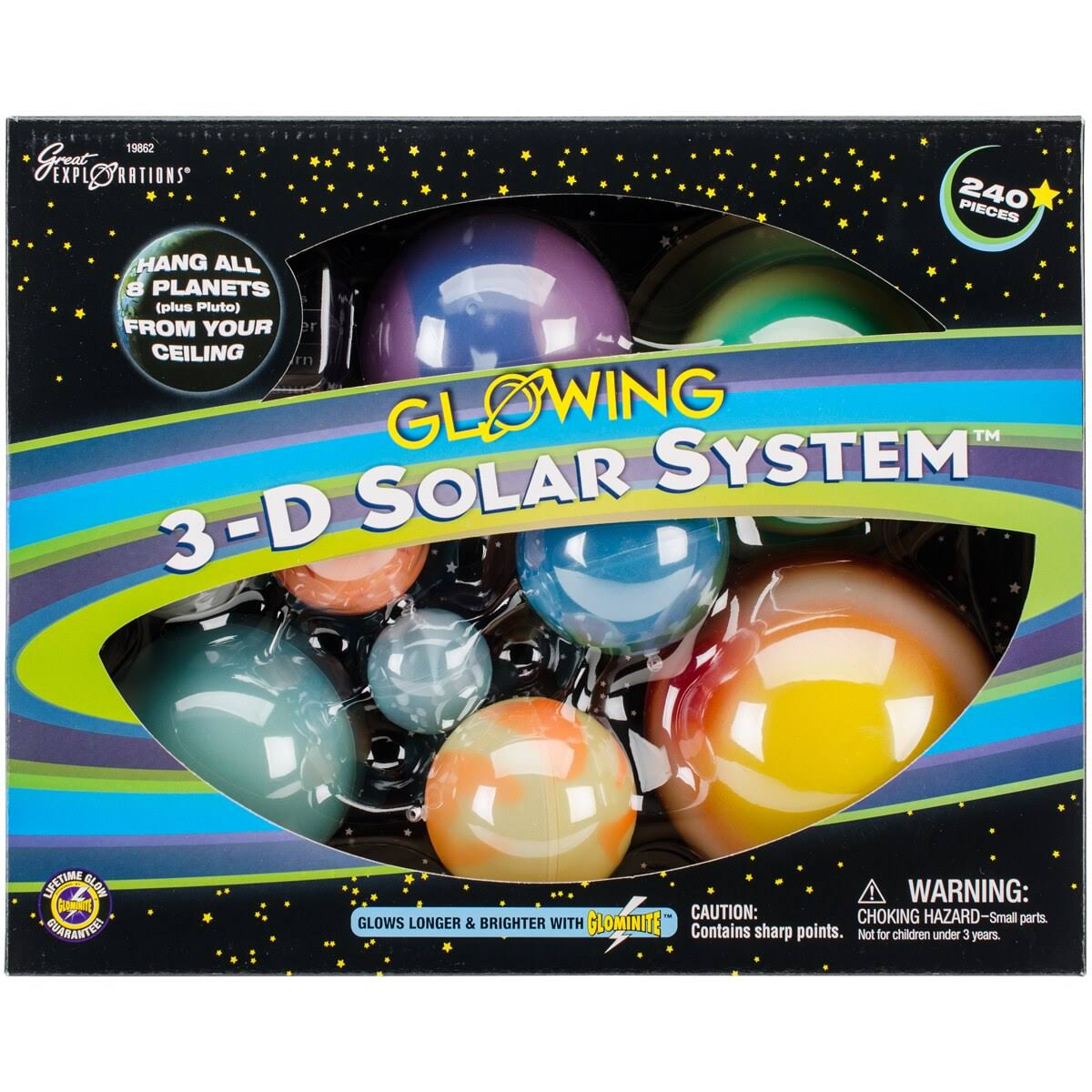 3D Solar System Glow In The Dark Stars and Planets Science Kit